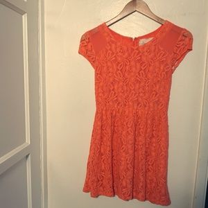 Coincidence & Chance Orange Lace Dress XS